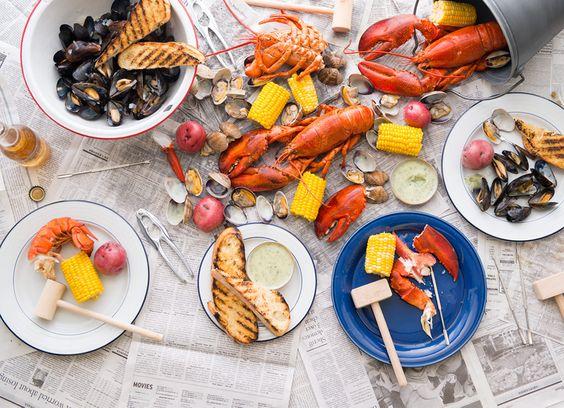 Lobster strewn on a table