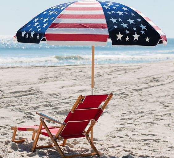 Red Chair and American Flag Umbrella
