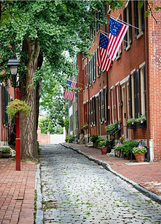 Cobble-stone streets in Nantucket.