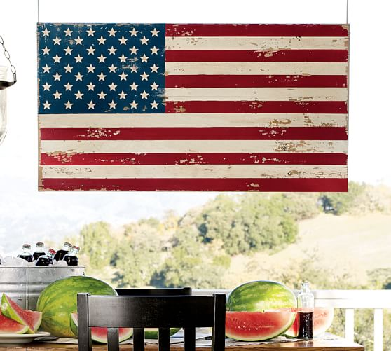Pottery Barn Painted American Flag